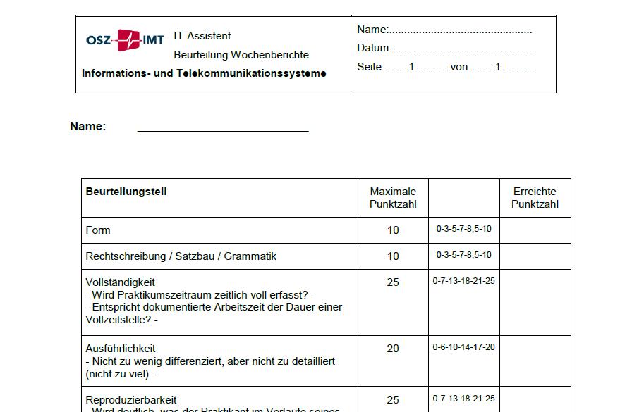 Wochenbericht über Betriebseinsatz / Assessment of weekly reports