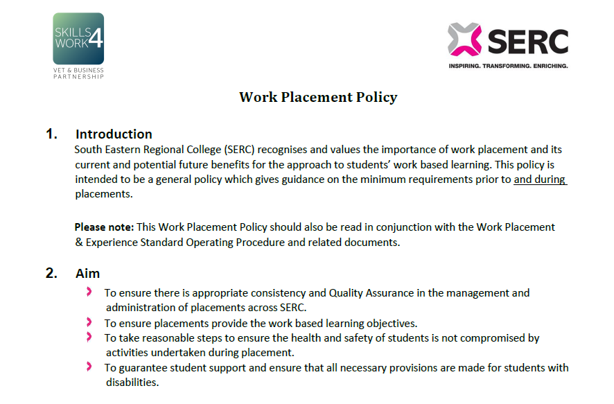 Work Placement Policy