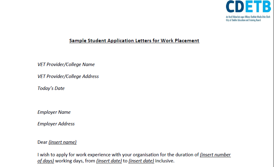 Sample Student Application Letters for Work Placement
