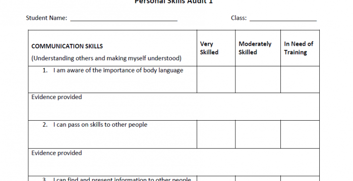 Personal Skill Audit Template for Students – Skills4Work Project