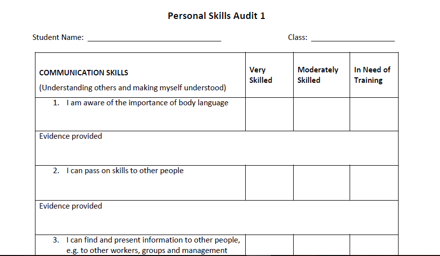 Personal Skill Audit Template for Students