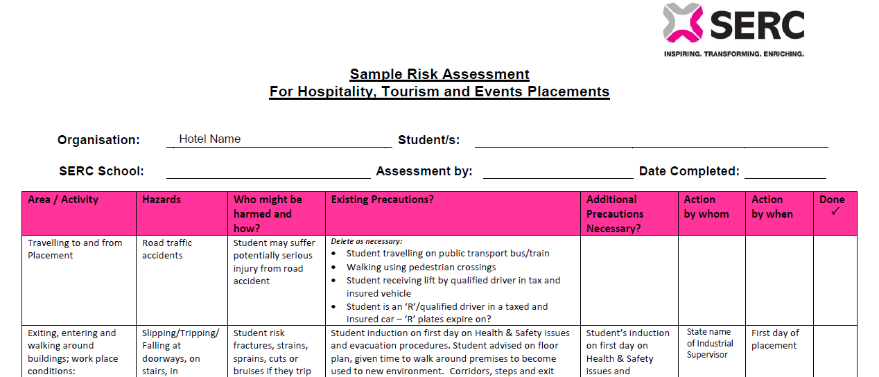 Sample Risk Assessment -  Hospitality, Tourism & Events