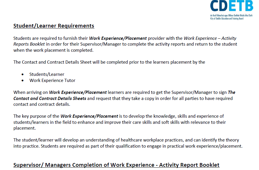 Work Experience Activity Reports – for Health Care Skills Programmes