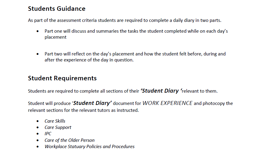Work Experience Diary – Student Diary Guidance