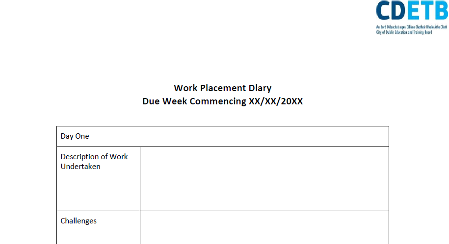 Work Placement Diary Template