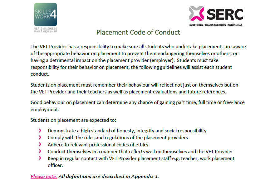 Student Placement Code of Conduct