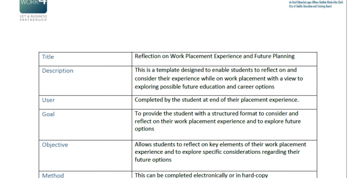 reflection on work experience Boud's reflection in experiential learning  reflection: turning experience into learning  d and walker, d(1991) experience and learning: reflection at work.