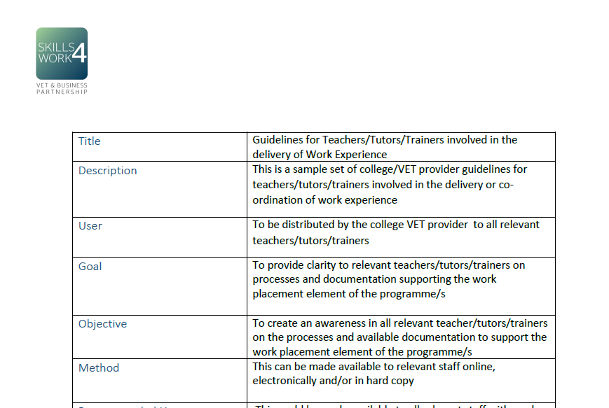 Guidelines for Teachers/Tutors/Trainers involved in the delivery of Work Experience