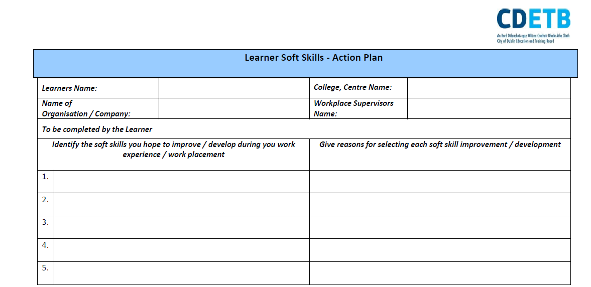 Learner Soft Skills – Action Plan