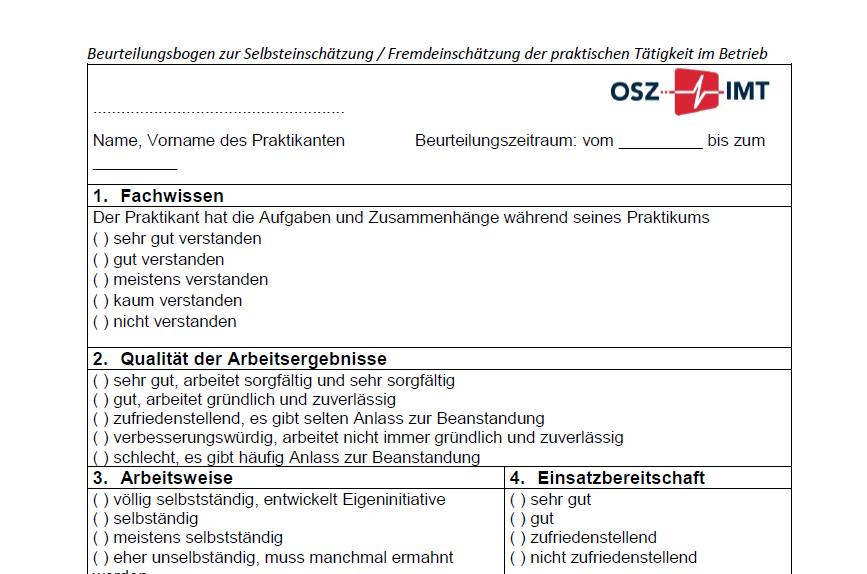 Beurteilungsbogen zur Selbsteinschätzung/ Fremdeinschätzung der praktischen Tätigkeit im Betrieb