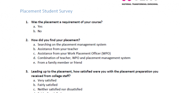 Placement Student Survey – Skills4Work Project