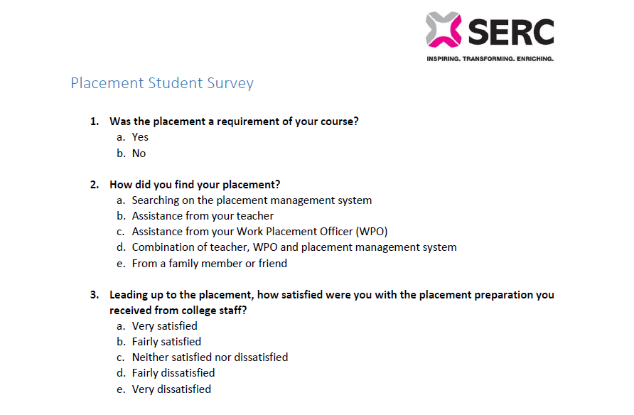 Placement Student Survey