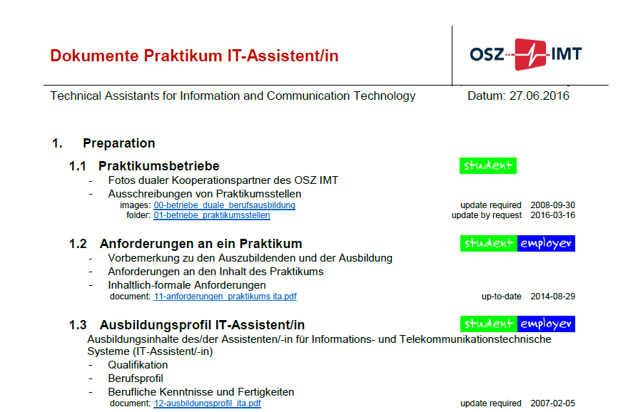 Dokumente Praktikum IT-Assistent/in