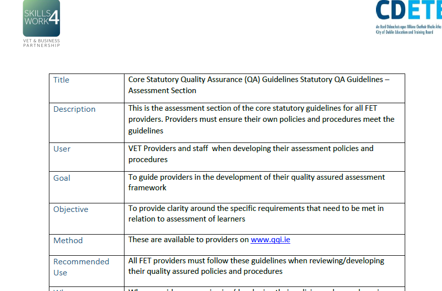 Core Statutory Quality Assurance (QA) Guidelines Statutory QA Guidelines – Assessment Section