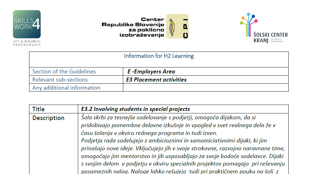 Involving students in special projects